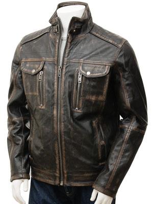 Men's Leather Jacket in Black: Bowd