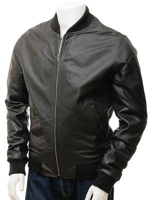 Men's Black Leather Bomber Jacket: Bradstone
