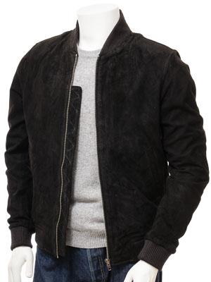 Men's Black Suede Bomber Jacket: Bradstone