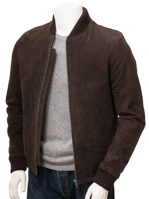 Men's Brown Suede Bomber Jacket: Bradstone