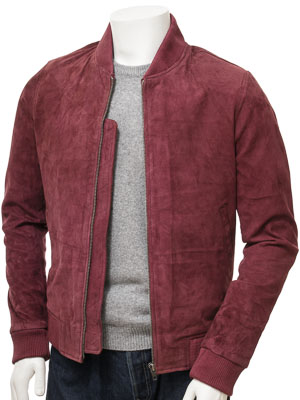 red suede bomber jacket mens