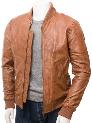 Men's Tan Leather Bomber Jacket: Bradstone