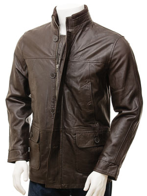 Men's Leather Coat in Brown: Brandis