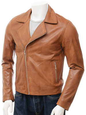 Men's Tan Leather Biker Jacket: Bridford