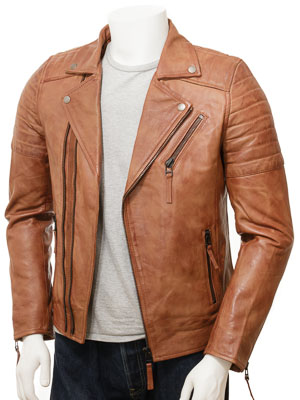 Men's Leather Biker Jacket in Tan: Buckerell