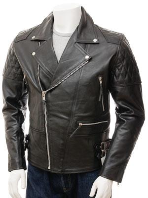 Men's Leather Biker Jacket in Black: Burscott