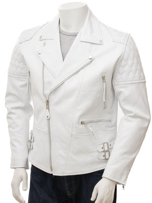Men's White Biker Leather Jacket: Burscott