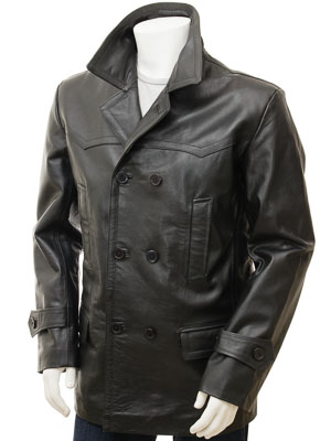 Men's Black Leather Peacoat: Bursdon