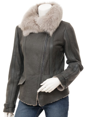 Womens Sheepskin Jacket in Grey: Calvert