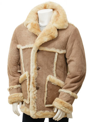 Men's Sand Sheepskin Coat: Capton