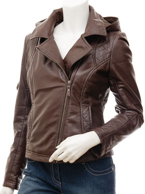 Women's Leather Biker Jacket in Brown: Castleberry