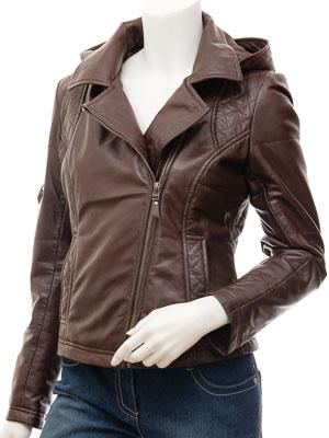 Women's Leather Biker Jacket in Brown: Castleberry