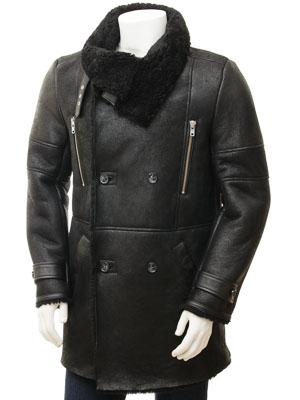 Men's Black Sheepskin Coat: Chardstock