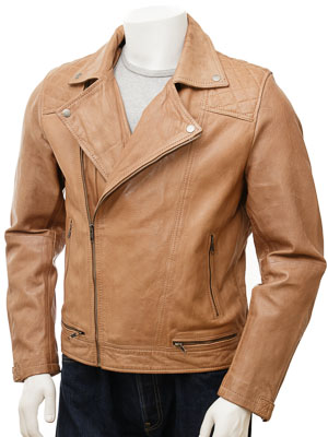 Men's Leather Biker Jacket in Tan: Clayhidon