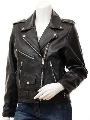 Women's Black Leather Biker Jacket: Coden