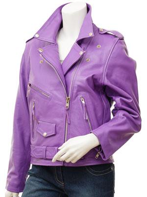 Women's Purple Leather Biker Jacket: Coden