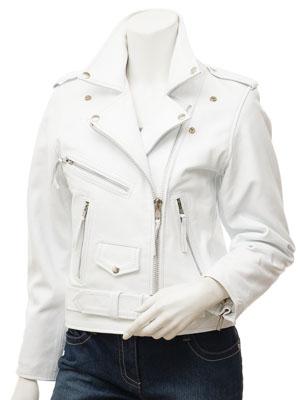 Women's White Leather Biker Jacket: Coden