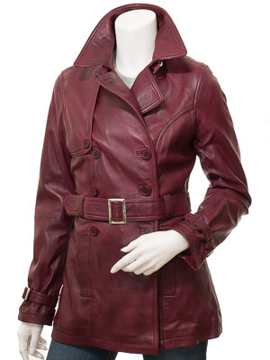 Womens Burgundy Leather Trench Coat: Columbia