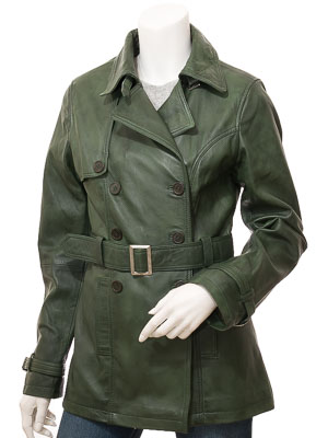 Womens Green Leather Trench Coat: Columbia