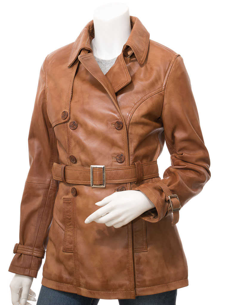 Womens Tan Leather Trench Coat: Columbia