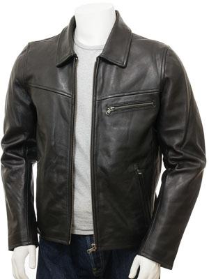 Men's Black Leather Harrington: Cookbury