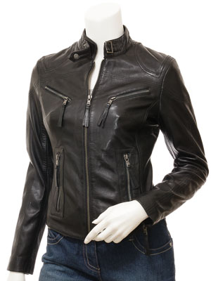 Women's Black Leather Biker Jacket: Corinth