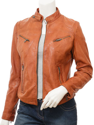 Women's Tan Leather Biker Jacket: Corinth