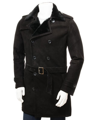 Men's Black Shearling Coat: Coryton
