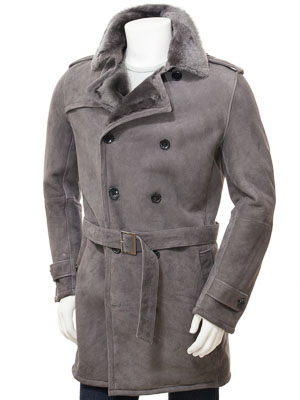 Men's Grey Shearling Coat: Coryton