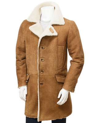 Men's Tan Sheepskin Trench Coat: Cotleigh