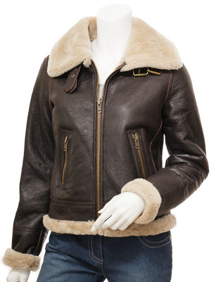 Women's Brown Sheepskin Flying Jacket: Cragford