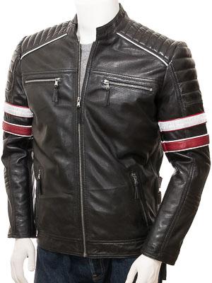 Men's Black Leather Biker Jacket: Croyde
