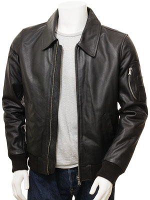 Men's Black Leather Bomber Jacket: Culmstock