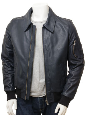 Men's Blue Leather Bomber Jacket: Culmstock