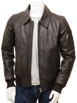 Men's Brown Leather Bomber Jacket: Culmstock