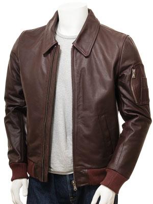 Men's Oxblood Leather Bomber Jacket: Culmstock