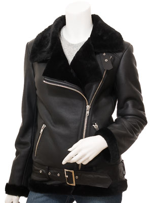 Women's Black Shearling Biker Jacket: Dadeville