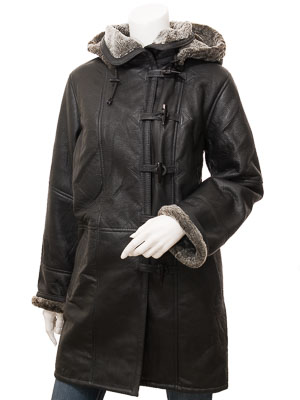 Women's Black Shearling Duffle Coat: Daviston