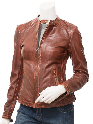 Women's Tan Leather Biker Jacket: Decatur