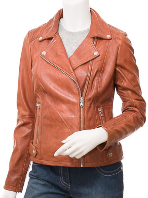 Women's Tan Leather Biker Jacket: Delmar