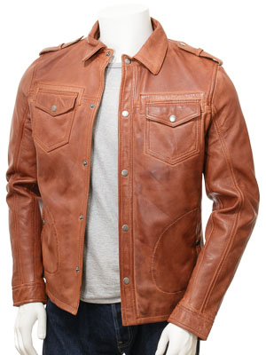 Men's Tan Leather Shirt Jacket: Denbury