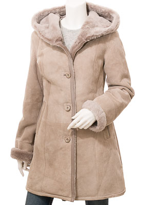 Women's Taupe Shearling Parka: Dickert