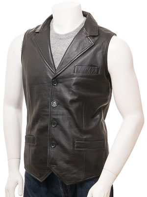 Men's Black Leather Waistcoat: Digby