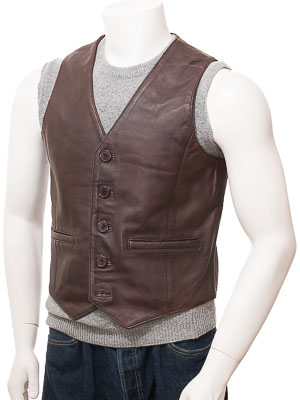 Men's Brown Leather Waistcoat: Dolton