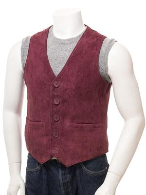 Men's Burgundy Suede Waistcoat: Dolton