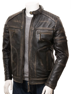 Men's Vintage Leather Biker Jacket: Eggesford