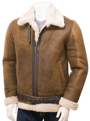 Men's Tan Sheepskin Aviator Jacket: Farringdon