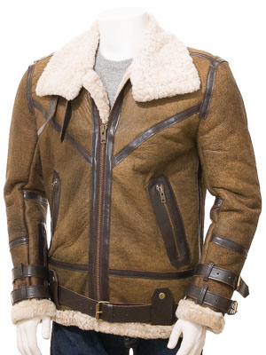Men's Tan Sheepskin Jacket: Farway