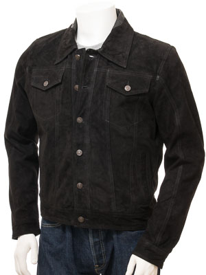 Men's Black Suede Trucker Jacket: Foggia