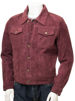Men's Burgundy Suede Trucker Jacket: Foggia